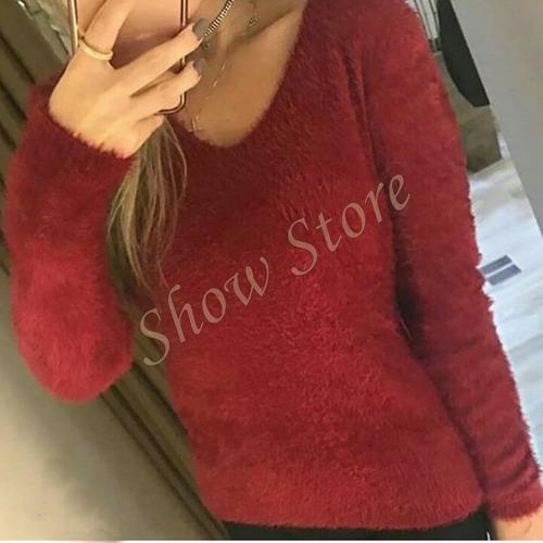 blusa suéter feminino peludo pro frio lã tricot  840