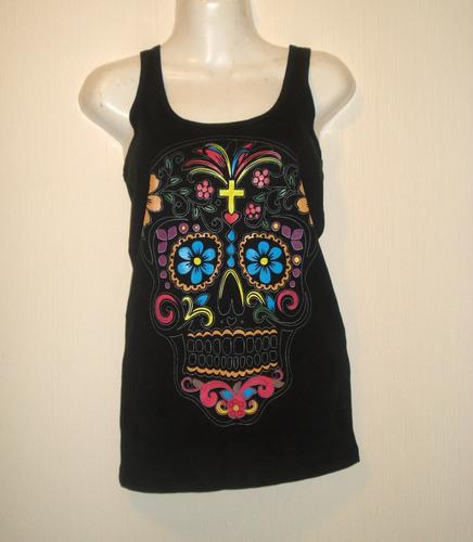 blusa sugar skull calaverita de azúcar artesanal méxico nga