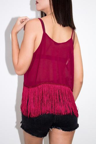 blusa synergy de chifon flecos vinotinto 109