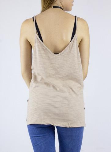 blusa synergy top tank cuello en v de tiras beige 112i