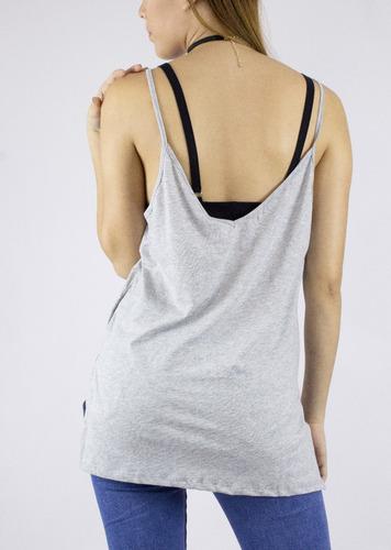 blusa synergy top tank cuello en v de tiras gris 112i