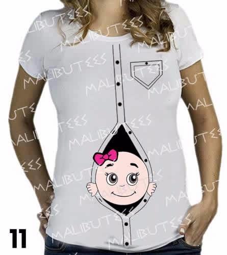 blusa t-shirt bebe saindo dos botões gestante gravida