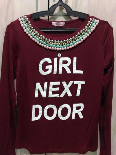blusa t-shirt bordada girl manga longa