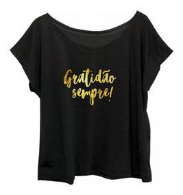 37533467d T Shirt Feminina Gratidão Manga Curta Feminino - Camisetas e Blusas ...