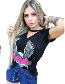 54bf4eefb9 T Shirt Feminina Gola Choker - Camisetas e Blusas no Mercado Livre Brasil