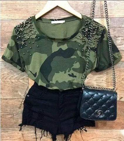 blusa  t-shirts feminina camuflada militar com pedraria