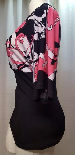 blusa t.30/32, negra est., stretch, ligera, wrapper