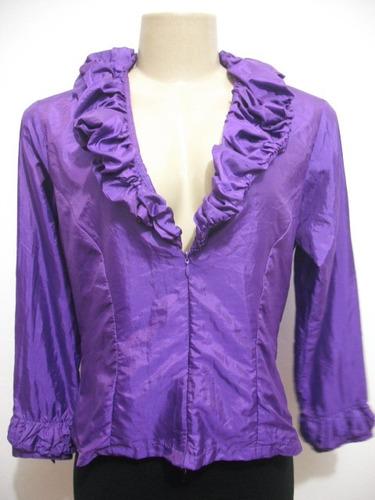 blusa tafetá cor roxa tam 42-44 manga longa ótimo estado
