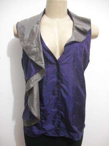 blusa tafetá roxo com cinza tam 40 ótimo estado