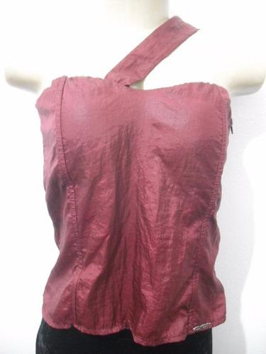 blusa tafeta vermelha bordo tam g com bojo usado bom estado