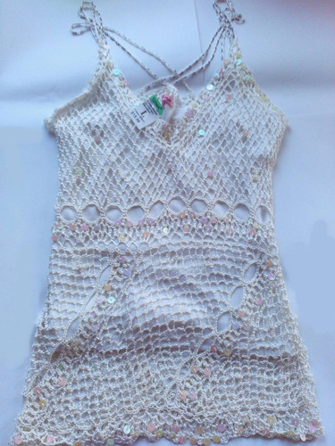 blusa tejida importada blanca dama brillante