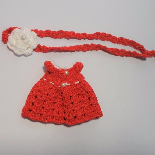 blusa & tiara crochê vermelha bonecas blythe, barbie, pullip