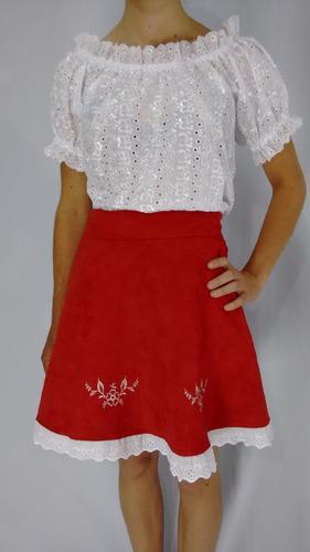 blusa típica germânica em renda laise branca m
