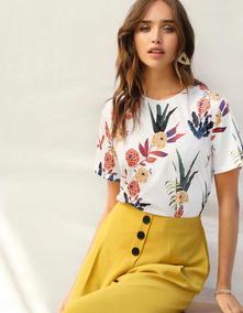 cdd1e1005 Blusa Tipo Camiseta Estampado De Flor Y Plantas