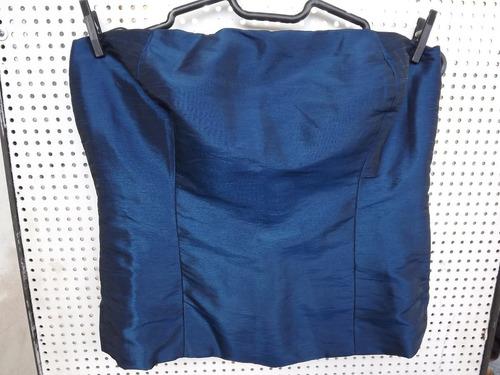 blusa tomara que caia de tafetá azul brilhante