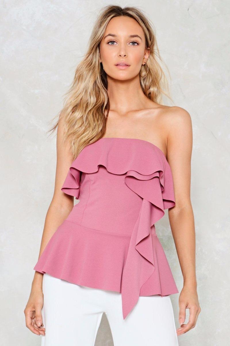 af4837d19beb6 blusa top strapless volados fiesta noche rosa importado. Cargando zoom.