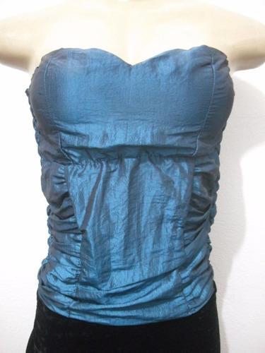blusa tqc corpete azul tafetá bojo tam m usado bom estado