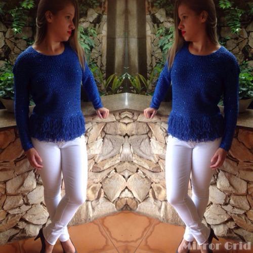 blusa tricô com brilho - lançamento preço especial