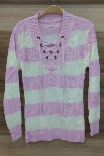 blusa tricô tricot detalhe ilhós e listras roupas femininas