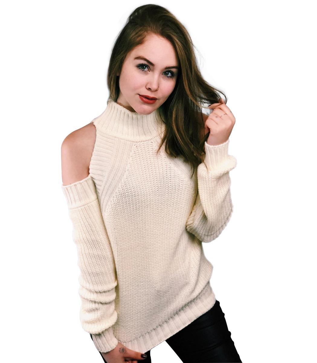 da685d0f95 blusa tricô tricot gola alta inverno malha ombro de fora. Carregando zoom.