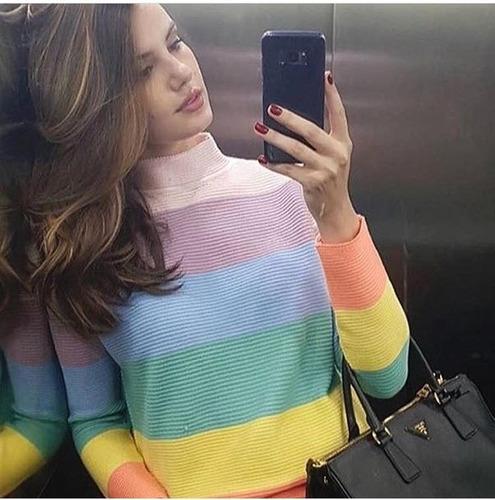 blusa tricô tricot listras coloridas roupas feminina inverno