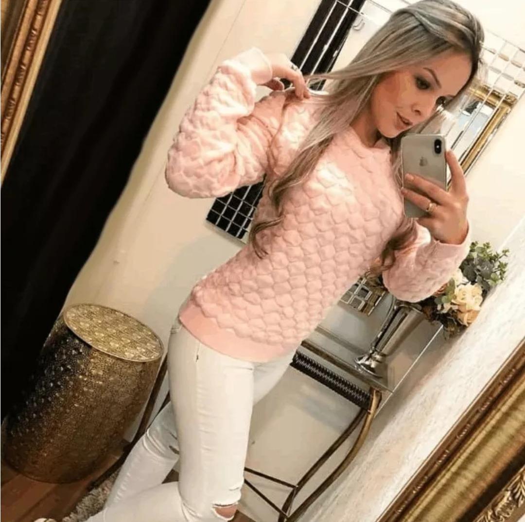 blusa tricot coração 3d feminina. outono inverno 2018. Carregando zoom. 654f1764f17