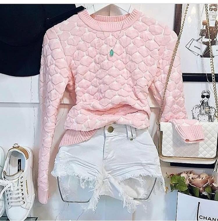Blusa Tricot Coração 3d Outono inverno 2018 Moda Feminina - R  76 704d8cff213