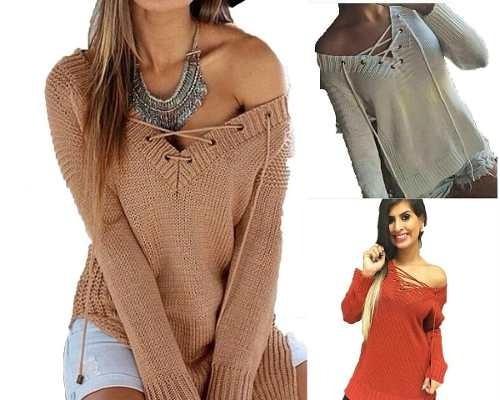 blusa tricot gola v com cordao / trico manga longa