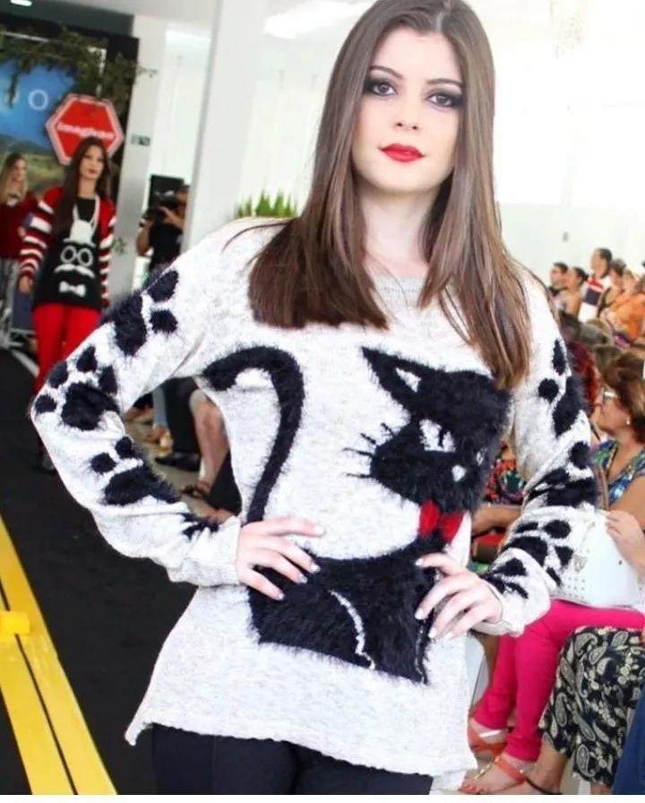 1f79c08d11 blusa tricot manga longa estampa gato inverno moda 2018 inst. Carregando  zoom.