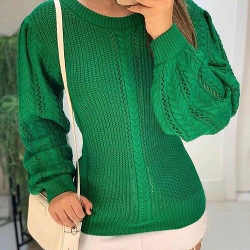 blusa tricot trança