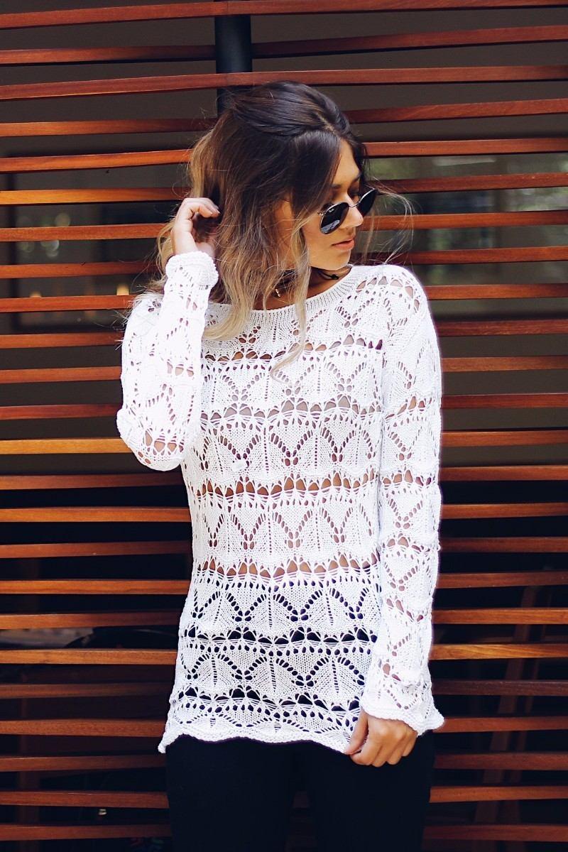 1596ac9688 blusa tricot tricô manga longa rendada decote canoa crochê. Carregando zoom.