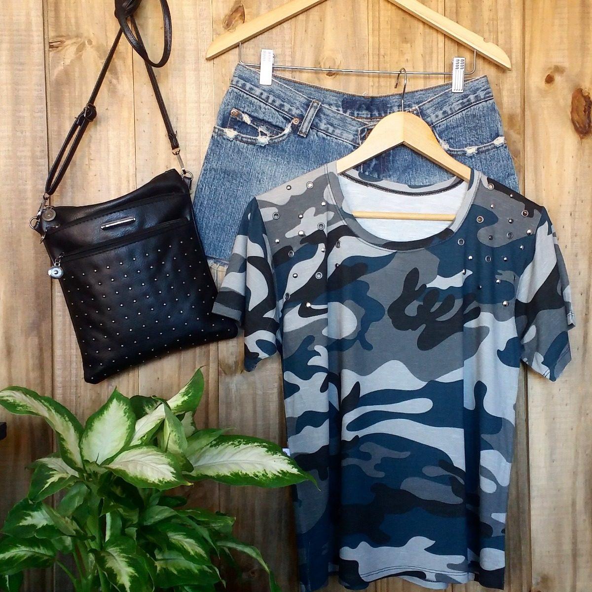 ddea1da46c blusa tshirt camiseta feminina camuflada militar pedraria. Carregando zoom.