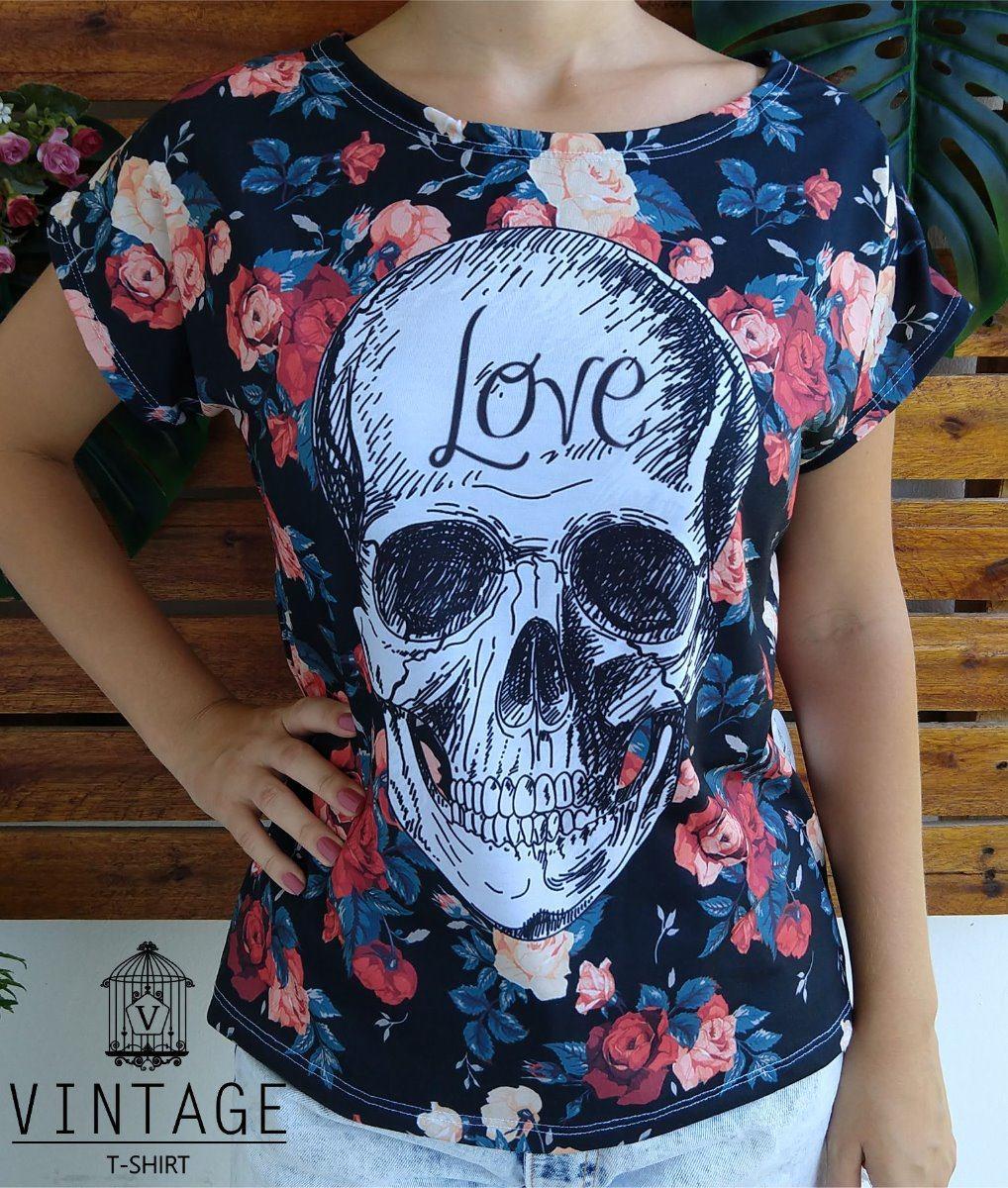 ... Blusa Tshirt Camiseta Feminina Caveira Floral Love Tamanho M R 69 2b3a53551f9