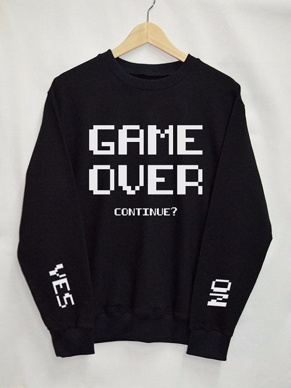 Blusa Tumblr Game Over Frases Yes No Moletom Casaco R 69