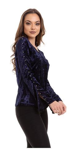 blusa veludo molhado manga longa azul kinara