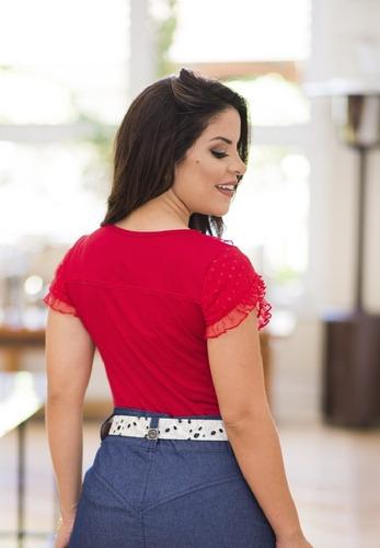 blusa vermelha babadinho tule