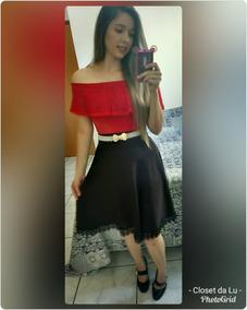248c92e062 Blusa Vermelha Ciganinha Com Renda Moda Evangélica Cristã