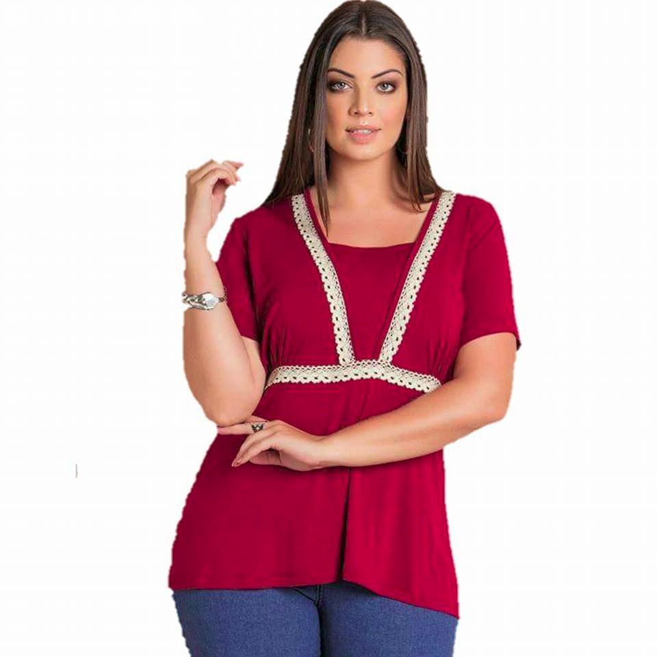 9713bd5544 blusa vermelha linda plus size detalhe de renda frete grátis. Carregando  zoom.