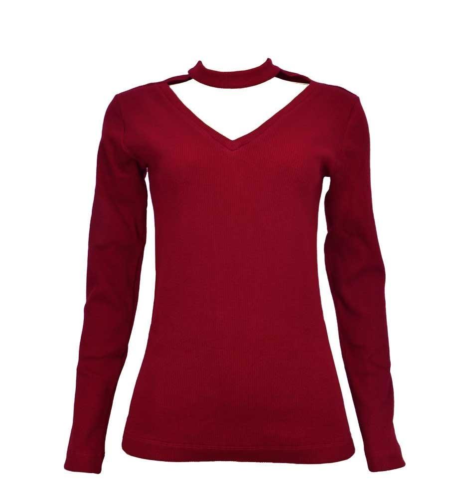 60bbbe9d1 blusa vermelha manga longa decote algodão feminina 21176lvm. Carregando  zoom.