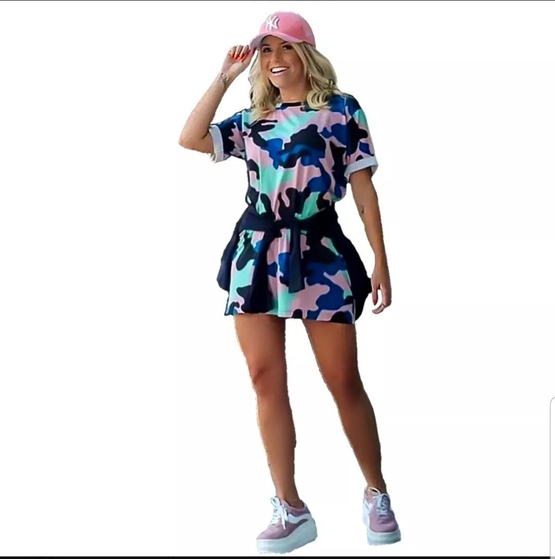 8cefcbf22 blusa vestido camisão feminino camuflado estampado moda 2019. Carregando  zoom.