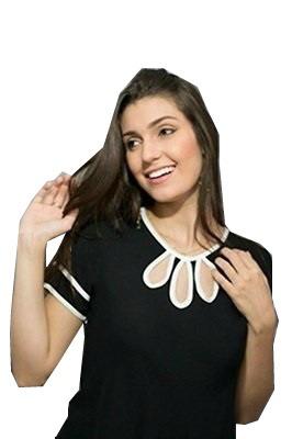 blusa viscose detalhe gota com manga curta moda evangélica