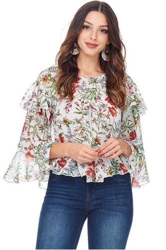 blusa volantes floral