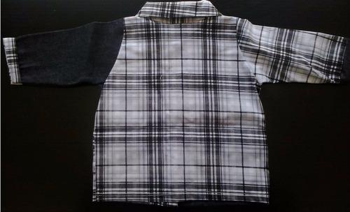 blusa xadrez com detalhes em jeans