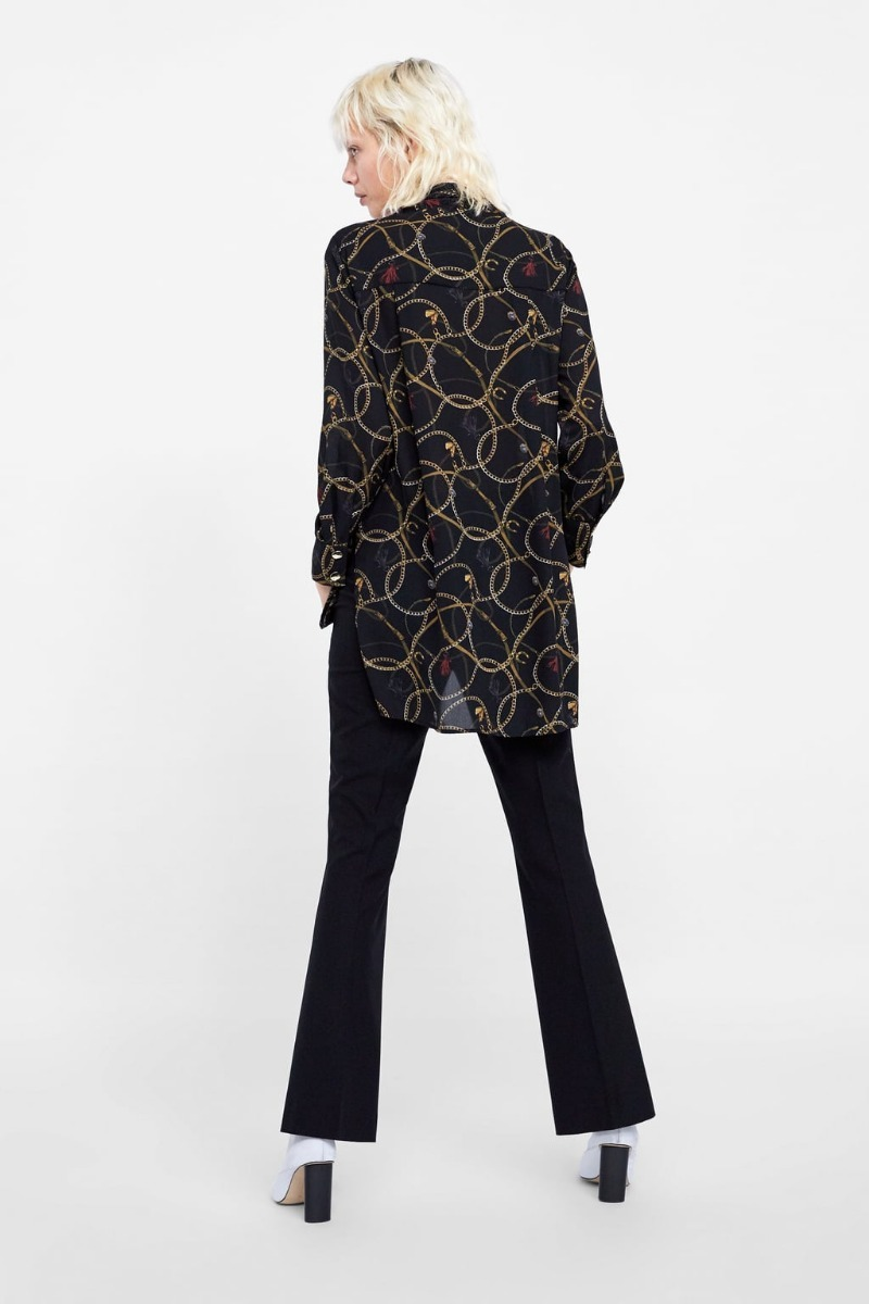 tienda de descuento comprar baratas nuevo estilo de Blusa Zara Larga Crepe Cadenas