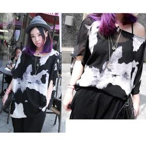 8a55ddeb547bd Blusa Holgada Transparente Combinada Moda Asiática