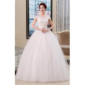 a6078bad7 Vestido Novia Princesa Cinturón Pedrería Corset Manguita