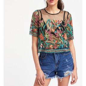 b3461bd4dc3 Blusa Negra Transparente Flor - Blusas de Mujer en Mercado Libre México