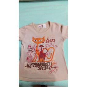 42b6f35c89b Playera Camiseta Básica Mediana. Estampado Gato. Manga Corta