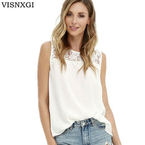 c9fc3e6191bf7 Visnxgi Encaje Blusa Camisas 2018 Verano Moda Elegante Sólid