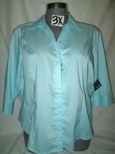 blusas azul  de vestir /salir talla 3x.(42-44)extragrandes